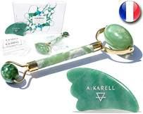 A:KARELL Jade Roller For Face & Gua Sha SET 100% Real Chi Himalayan Jade Anti Aging Skincare Therapy Tool Jade Facial Roller Depuffing Anti-Wrinkle Facial Roller De Puffer Massager