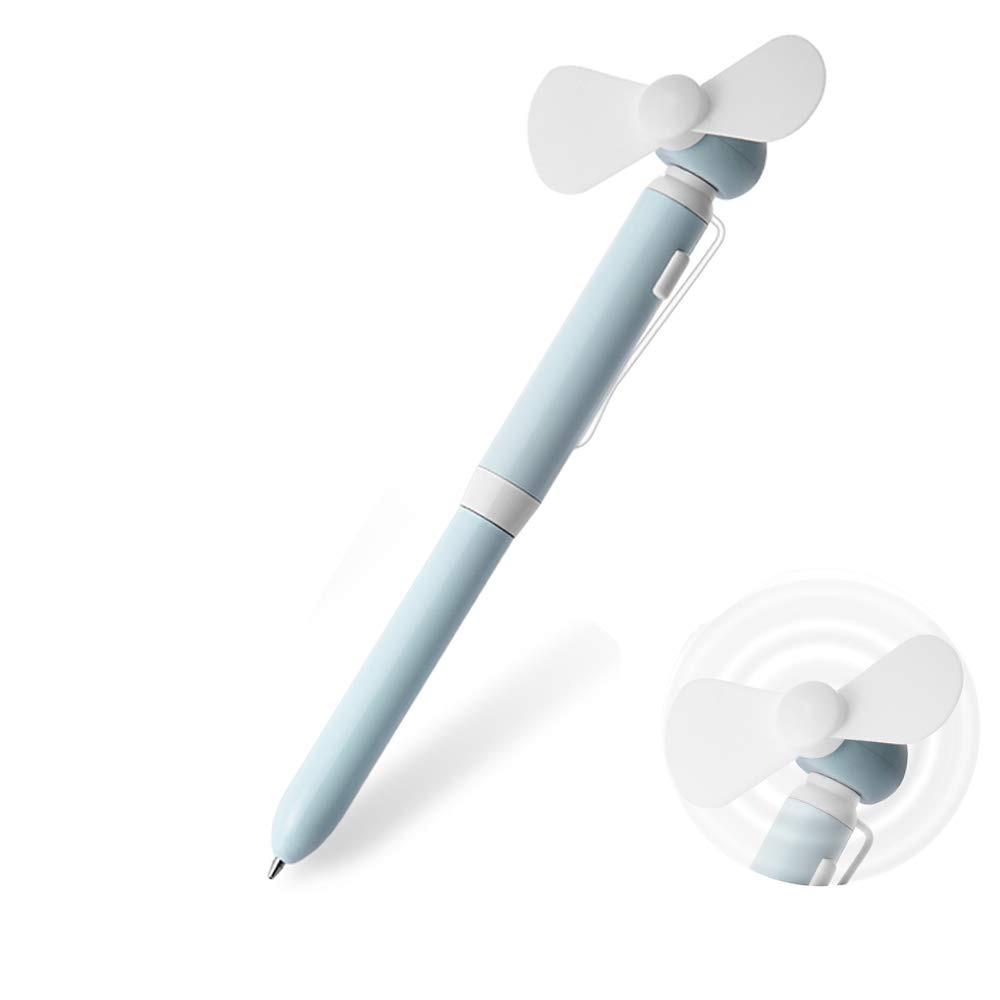 Breeze Fan Pen, Yacig Deluxe Ballpoint Pen with Mini Fan, Cute Small Personal Portable Fan Design Writing Pen for Kids Girls Woman Gift - Turquoise