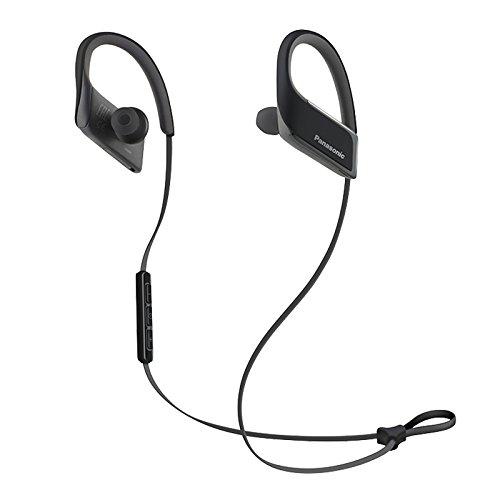 Panasonic WINGS Wireless Bluetooth In Ear Earbuds Sport Headphones with Mic + Controller RP-BTS30-K (Jet Black), IPX4 Water Resistant
