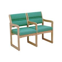 Wooden Mallet DW1-2 Valley 2-Seat Chair with Center Arms, Light Oak/Blue