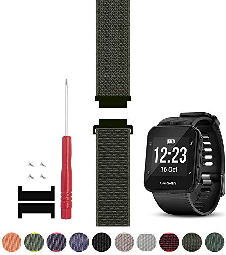 C2D Joy Compatible with Garmin Forerunner 35 Watch Band Replacement (Adapter, Screws and Screwdriver) Sport Mesh Strap Nylon Weave Garmin 35 Running Watch Accessories Watchband - 22#, M/6.5-8.5 in.