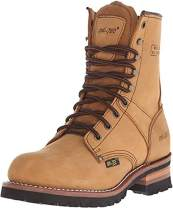 Ad Tec 9 in Mens Lug Sole Super Logger Crazy Horse Leather Work Boots - Smooth Lining and Shock Absorbing Non Slip Rubber Insole