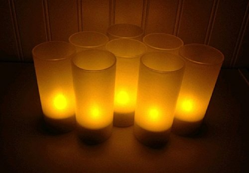 BlueDot Trading LED Battery Operated Rechargeable Tea Lights, Amber, 8-Pack