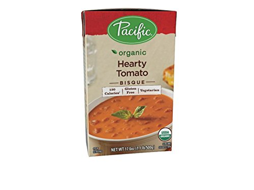 Pacific Foods Organic Hearty Tomato Bisque, 17.6-Ounce Cartons, 12-Pack