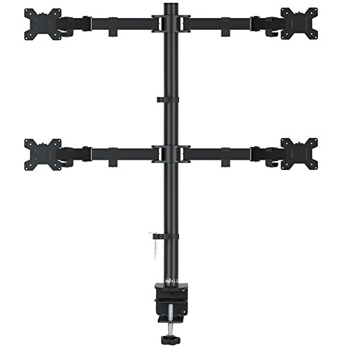 WALI Quad LCD Monitor Desk Mount Fully Adjustable Stand Fits 4 Screens up to 27 inch, 22 lbs. Weight Capacity per Arm (M004), Black