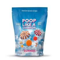Poop Like A Champion High Fiber Gummies Packs 9 g of Fiber in Just 3 Gummies! Peach, Orange and Strawberry, Ultra Fiber, 100% Non-GMO - 1/2 LB resealable bag!