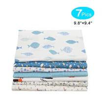 """7PCS Cotton Craft Fabric Bundle Quilting Sewing Patchwork Floral Cloths Squares for Sewing DIY 9.8""""9.4"""" (Color 26 Fish, 9.8""""9.4"""")"""