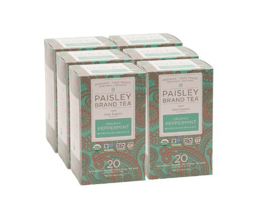 Paisley Label Tea by Two Leaves and a Bud Organic Peppermint Herbal Tea, 20 Count (Pack of 6)