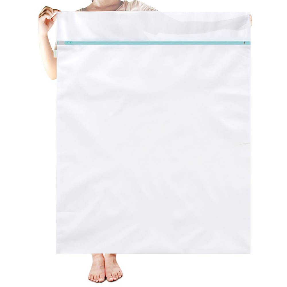 OTraki Mesh Laundry Bag 43 x 35 in Large Washing Machine Bags XL Net Washer Protector for Travel Camp College Students Dorm Delicates Coat Dress Bedding Blanket Sheet Robe Cleaning Organizer White
