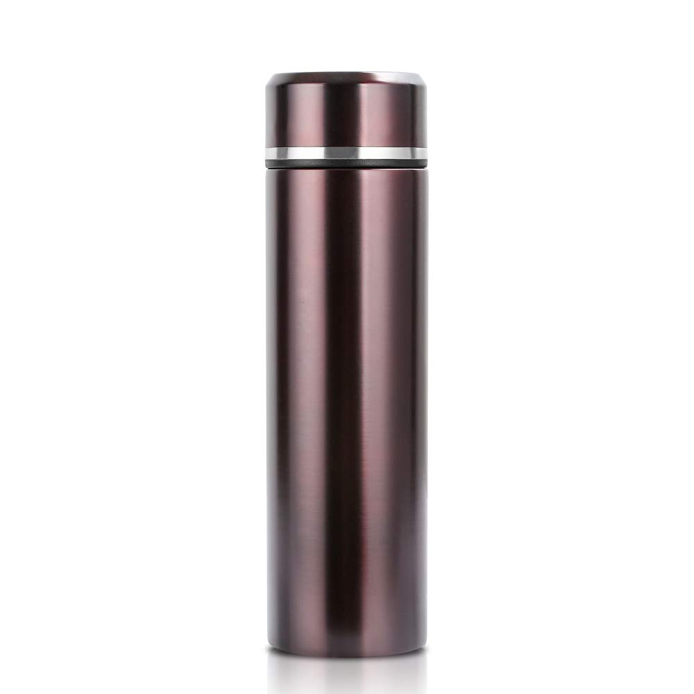 Double Wall Vacuum Insulated Travel Coffee Thermos Mug 17oz with Tea Leaf Filter,Wide Mouth & BPA Free Leakproof Lid (Glossy Brown)