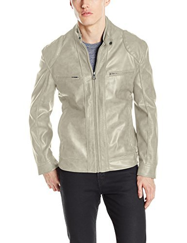 """Andrew Marc Men's Corwin-27.5"""" Faux Leather Band Collar Moto Jacket"""