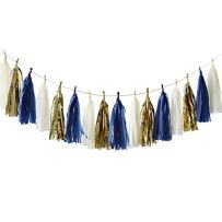 NICROLANDEE 15 Pcs Navy Blue Tissue Paper Tassel Garland Gold Foil Art Party Garland for Wedding Baby Shower Bridal Shower Nautical Birthday Party Decor(Navy Blue)