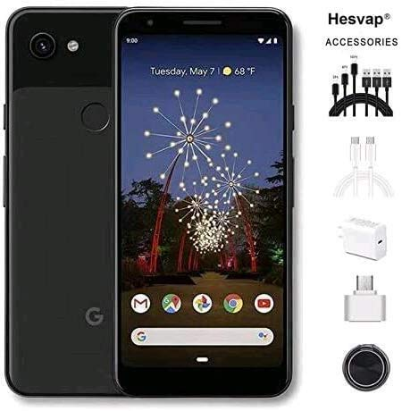 """Google Pixel 3a 5.6"""" 64GB Unlocked Cell Phone Android Smartphone - Black, AT&T/T-Mobile/Verizon W/Cellphone 7 in 1 Accessories"""