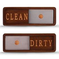TEYGA Bamboo Dishwasher Clean Dirty Magnet Sign, with Stainless Steel Window - Dishwasher Magnet Clean Dirty, No-Scratch Strong Magnets, 2 Double-Sided Stickers, Dirty Clean Dishwasher Magnet Cover