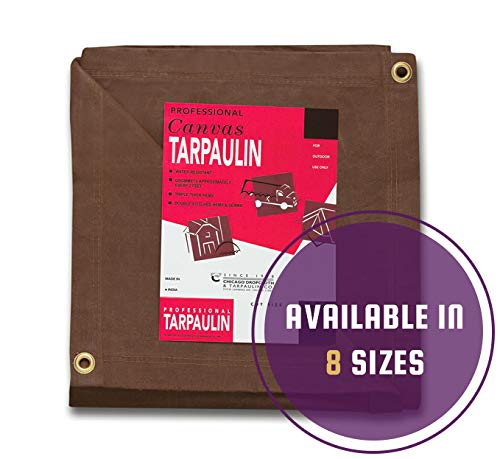 CCS CHICAGO CANVAS & SUPPLY Canvas Tarpaulin, Brown, 10 by 12 Feet