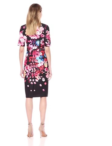 Adrianna Papell Women's Spring in Bloom Printed Scuba Sheath Dress