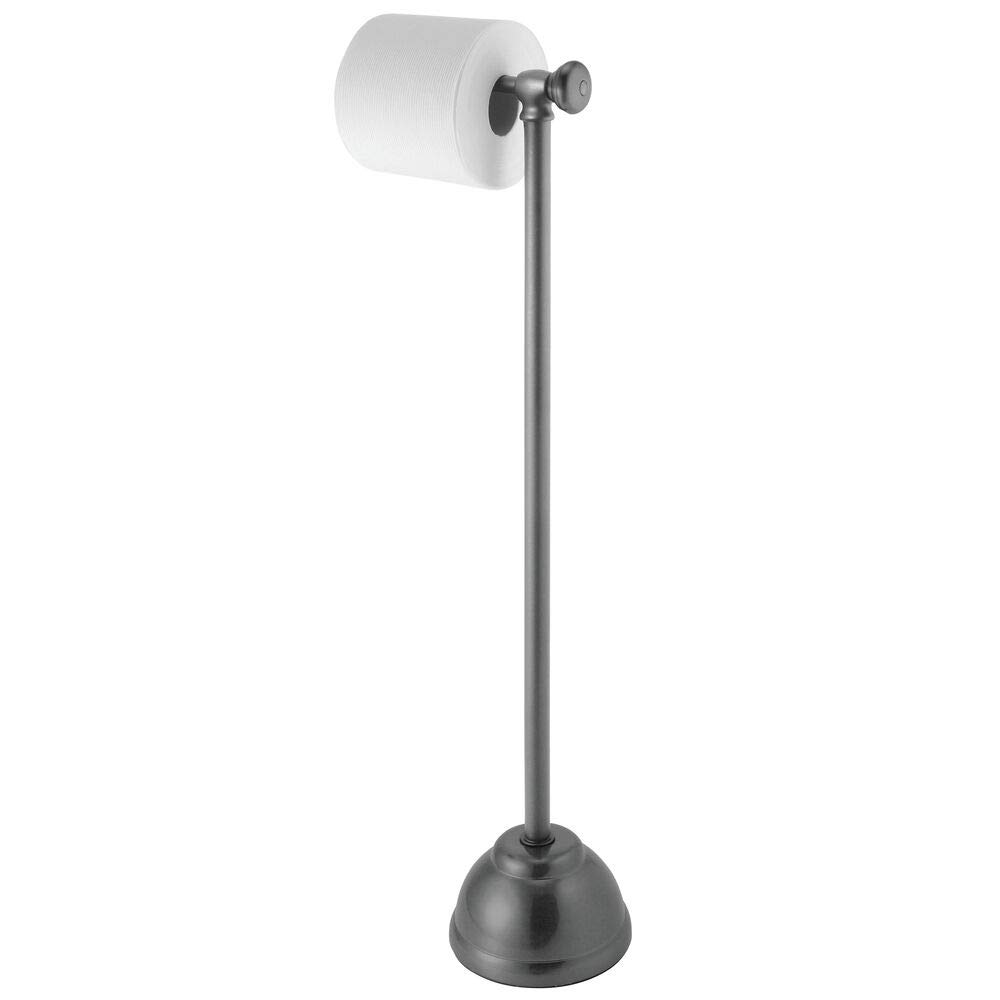 mDesign Decorative Metal Toilet Paper Holder Stand and Dispenser for Bathroom and Powder Room - Holds Mega Rolls - Graphite Gray