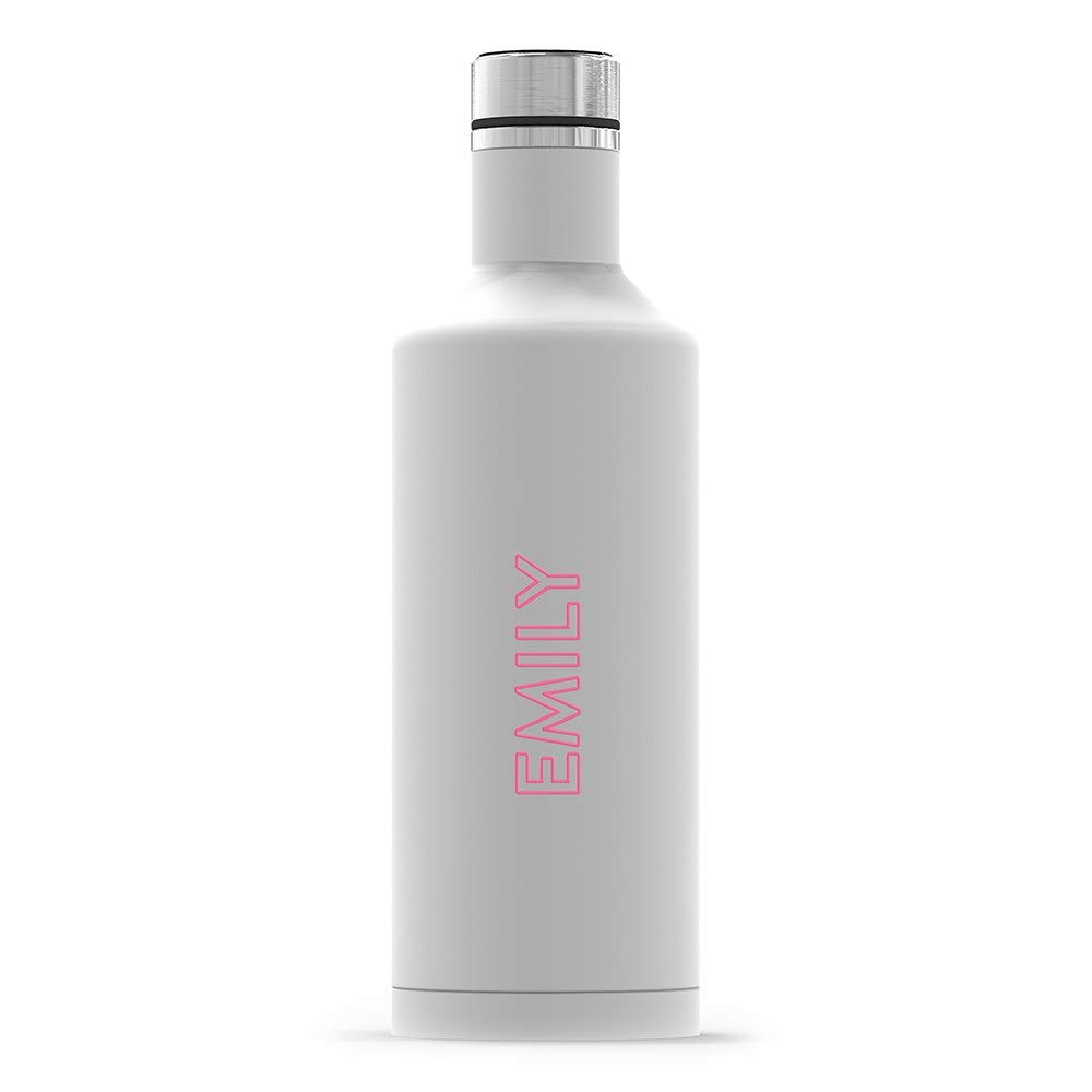 Weddingstar Personalized Stainless Steel Insulated Water Bottle 17oz – Customizable Reusable Durable Eco-Friendly Thermal Metal Canteen for Hot or Cold Drinks 100% BPA-Free - Line Monogram