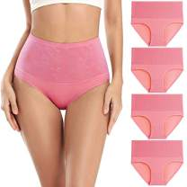 wirarpa Women's Cotton Underwear 4 Pack High Waisted Full Coverage Plus Size Briefs Comfortable Ladies Panties Pink, Size 8