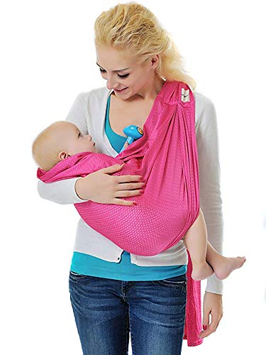 Choies Baby Wearing Wrap Carrier for Women & Men/Breathable Sling Wrap for Baby/Infant Adjustable Wrap Around Sling Nursing Cover Swaddle Blanket-Rose
