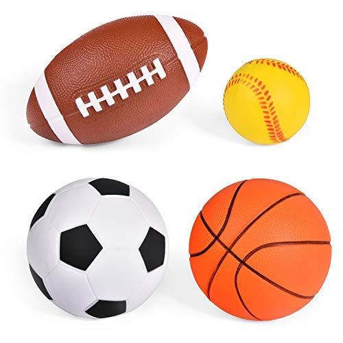 Soft PU Sports Balls for Kids, Stress Balls, Outdoor Toys, Sports Party Favor (Football, Baseball, Basketball and Soccer Ball)