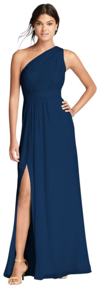 David's Bridal Long One-Shoulder Crinkle Chiffon Bridesmaid Dress Style F18055, Marine, 30