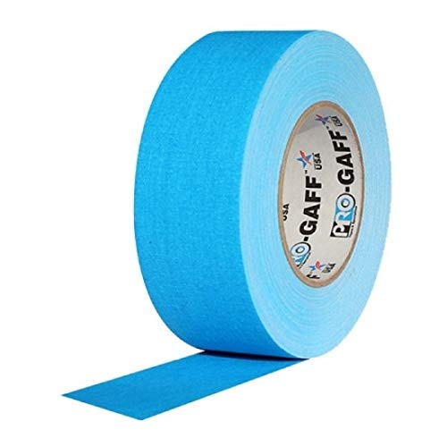 """2"""" Width ProTapes Pro Gaff Premium Matte Cloth Gaffer's Tape with Rubber Adhesive, 50 yds Length x, Fluorescent Blue (Pack of 1)"""