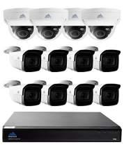 16 Channel Security System w/ 8 4k Motorized Bullet Cameras and 4 4k Motorized Vandal Dome Cameras, 3TB HDD, 200ft Color Night Optics - MTIP816384KBV44KDV