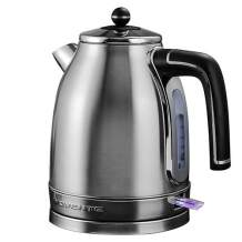Ovente Electric Water Kettle 1.7 Liter with Premium Matte Stainless Steel, Victoria Collection 1500 Watts, Removable Anti-Scale Filter, Centered Water Gauge and Fast Boiling, Silver (KS777S)
