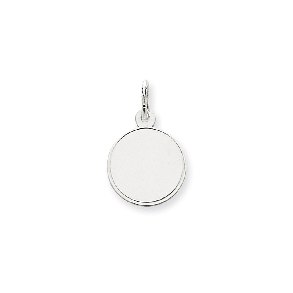 14k White Gold .013 Gauge Round Engravable Disc Pendant Charm Necklace Rimmed Edge Fine Jewelry For Women Gifts For Her