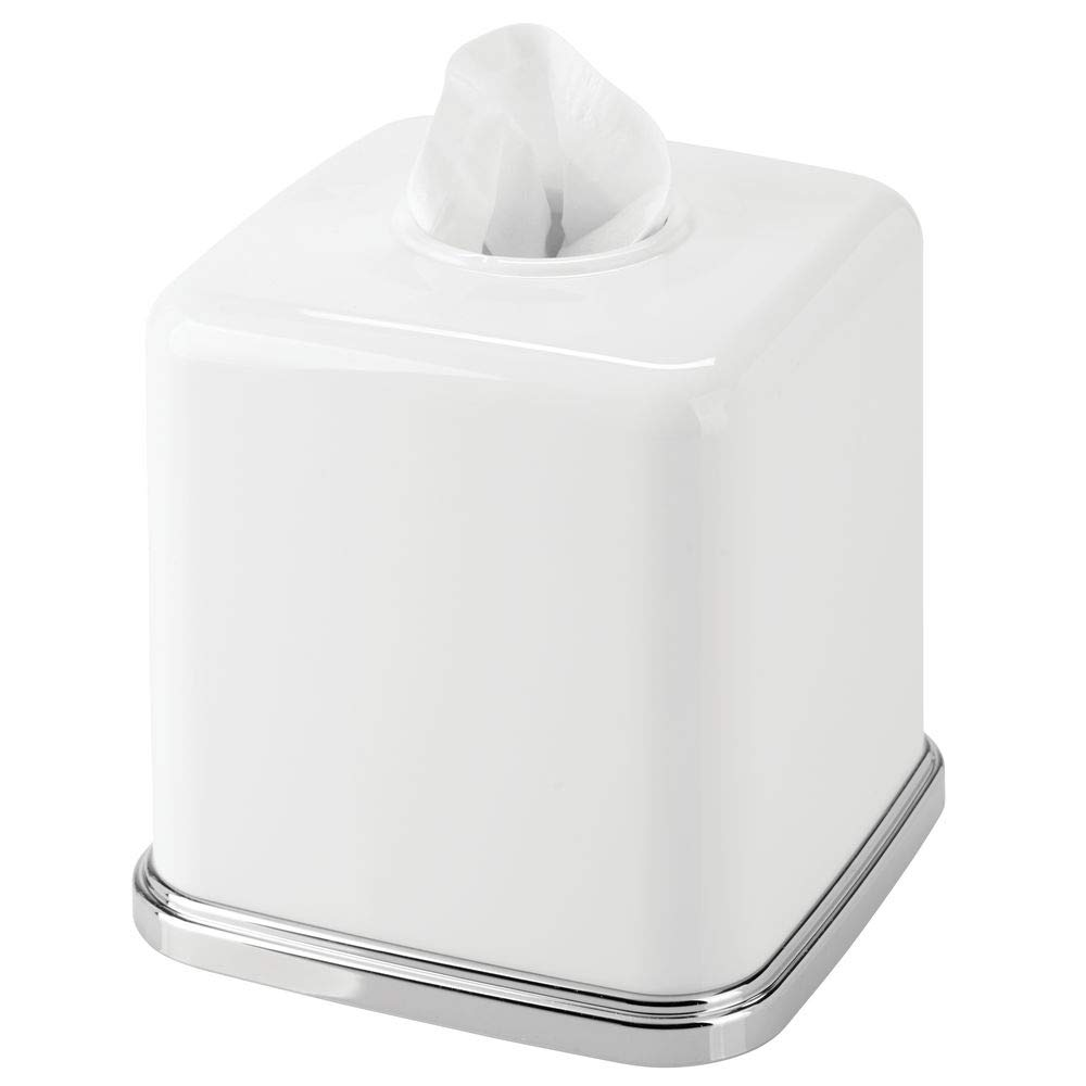 mDesign Square Plastic Disposable Facial Tissue Box Cover and Holder for Bathroom Vanity Countertops, Bedroom Dressers, Night Stands, Desks, Tables - White/Chrome