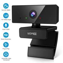 HOMIEE 1080P Webcam, Noise Reduction Microphone & Light Correction Web Cam, 110˚ Wide Angle, Plug & Play Web Camera Compatible with Windows Android Linux Mac for Video Calling Online Study Conference
