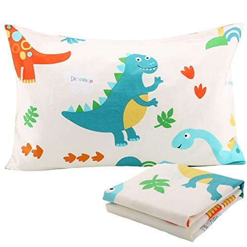 UOMNY Kids Toddler Pillowcases 2 Pack 100% Cotton Pillowslip Case Fits Pillows sizesd 13 x 18 or 12x 16 for Kids Bedding Pillow Cover Baby Pillow Cases Dinosaur