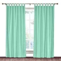"cololeaf Faux Silk Satin Blackout Curtains Luxury Dupioni Thermal Insulated Tab Top Drapes for Living Room Bedroom Diningroom, Aqua Mist 84"" W x 84"" L Inch (1 Panel)"