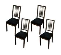 Argstar 2,4,6 Pcs Velvet Dining Chairs Seat Cover, Velvet Seats Cover for Dining Room Chair, Kitchen Chair Cushion Covers Set of 4, Black