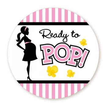 Classic Ready to Pop Stickers | Many Sizes & Colors to Choose from | Ready To Pop Baby Shower Stickers for Popcorn | Ready to Pop Stickers for a Girl or boy (Pink, 1.67)