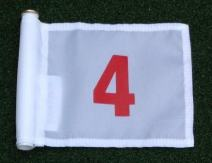 """ShopTJB Red Numbered #4 Printed on a Solid White Jr. (8"""" L x 6"""" H) 400 Denier Pin Marker Flag for Golf & Putting Green Applications"""