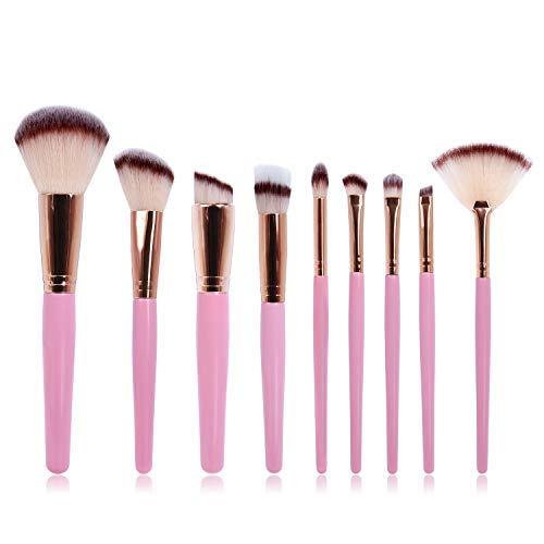 Makeup Brushes Set Super Soft 9 Pcs Makeup Brush Synthetic Foundation Concealers Angled Eye Shadows Brushes Face Powder Liquid Blush Brushes Make Up Brushes Tool Set