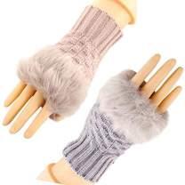 HomDSim 2 Pairs Women's Winter Gloves,Warm Faux Fur Knit Crochet,Thumbhole Hand Fingerless Mitten Gloves Arm Warmers