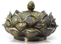 Buycrafty Vintage Lotus Incense Burner Cover Lotus Flower Shaped Incense Holder for Stick and Cone Incense