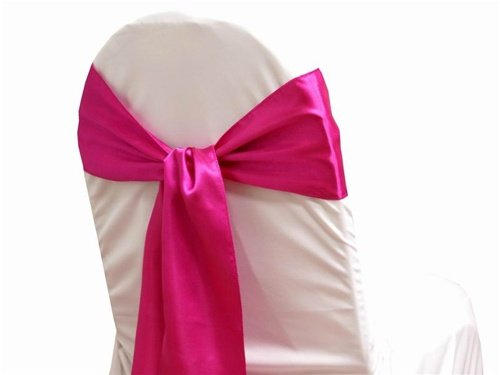 mds Pack of 10 Satin Chair Sashes Bow sash for Wedding and Events Supplies Party Decoration Chair Cover sash -Magenta