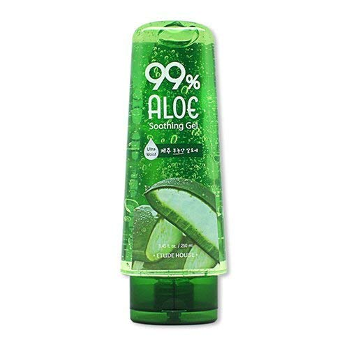 ETUDE HOUSE 99% Aloe Soothing Gel 250ml   Korean Skin Care   Moisture for face, body and hair! 5-in-1 formula: Shooting gel, ultra-moisturizer, eye-pack, cooling gel, after-shave effect