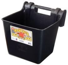 Little Giant Plastic Hook Over Feeder (Black) Heavy Duty Mountable Livestock & Pet Feed Bucket (15 Quart) (Item No. HF15BLACK)