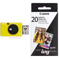 "Canon IVY CLIQ Instant Camera Printer, Mini Photo Printer with 2""X3"" Sticky-Back Photo Paper(10 Sheets), Bumblebee Yellow with Canon Zink Photo Paper Pack, 20 sheets"