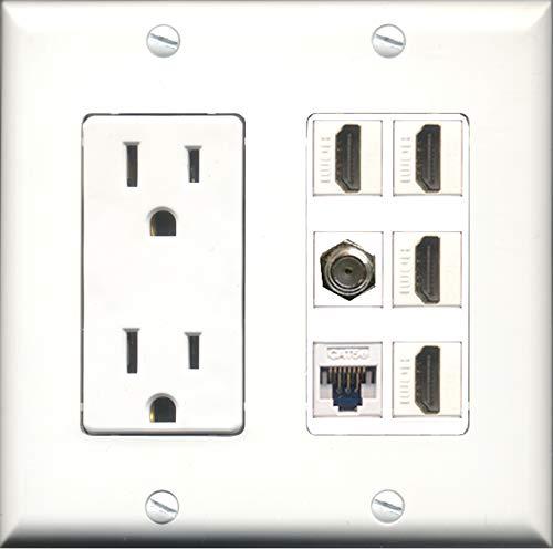 Wallplate City - 2 Gang 15 Amp Duplex Power Outlet, 4 Port HDMI, 1 x Cat5e F/F Ethernet, 1 x Coax Wall Plate