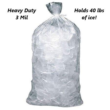 """40 LB 3 MIL LDPE Ice Bags Clear Baler Wicket Gusset Commercial Quality, 18"""" x 33.5"""" x 5"""", 2"""" Lip, 3 mil (50)"""