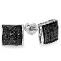 Dazzlingrock Collection 0.25 Carat (ctw) Black Round Diamond Ladies Mens Unisex Hip Hop Micro Pave Stud Earrings 1/4 CT