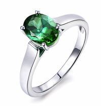 Fashion Gift Green Tourmaline Gemstone Real Diamond Solid 14K White Gold Engagement Wedding For Women Ring Set