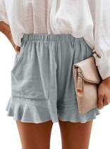 CANIKAT Womens Summer Fashion Holiday Ladies Ruffle Hem Elastic Waist Solid Casual Shorts Pants with Pockets Green M