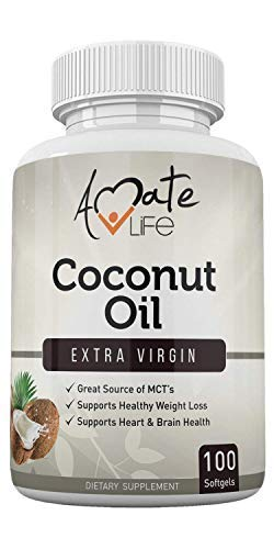 Coconut Oil Capsules Made with Organic Pure Extra Virgin Coconut Oil High Source of MCT Cold Pressed for Men and Women Made in USA 1000mg 100 Count by Amate Life